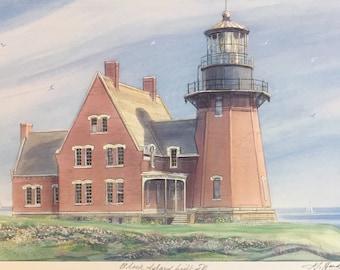 "Wall Art , Block Island Light South East, Rhode Island coastal scene framable 11""x14""matted art"