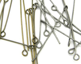 100x Thin, Medium, Brass Eye pins 38 mm (1.5'') - Antique Gold or Antique Silver Eyepins