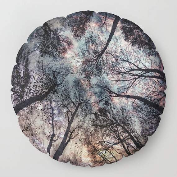 """Starry Sky in the Forest Round Pillow, 26"""" and 30"""", Floor Cushion, Dorm Pillow, Teen Decor, Office, Home Statement Piece, Woods,Trees,Nature"""
