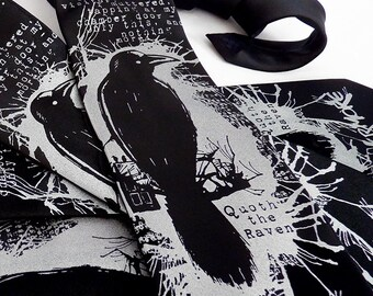 Nevermore Men's Necktie, Edgar Allan Poe Raven Tie, Book Lover Gift, Literary Gift, Librarian Gift, Book Gift, English Teacher Gift