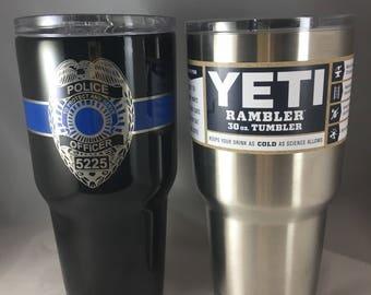 Personalized Police YETI ® Tumbler 30oz Laser Engraved, Blue Line Tumbler, Police Tumbler