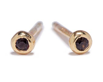 Stud earrings- Smoky quartz