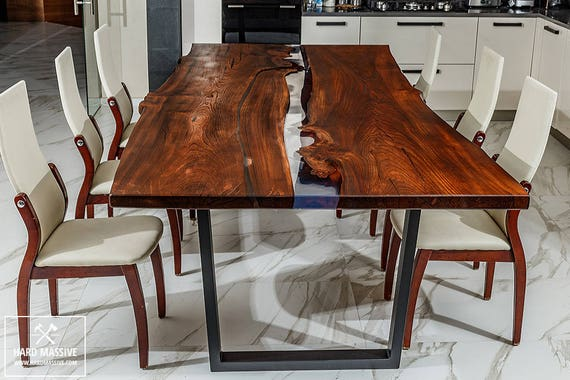 articles similaires vivre bord repas table table manger en bois r sine poxy bois table. Black Bedroom Furniture Sets. Home Design Ideas