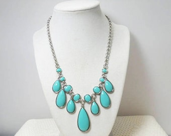 Napier Faux Turquoise Bib Necklace Silver Tone With Tear Drops