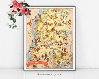 MISSISSIPPI MAP - Instant Digital Download - fun picture map to print and frame - put on totes, pillows, cards - charming house warming gift