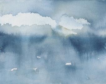 Lumière à travers les nuages, Waterscape abstrait peinture, aquarelle, bleu et blanc