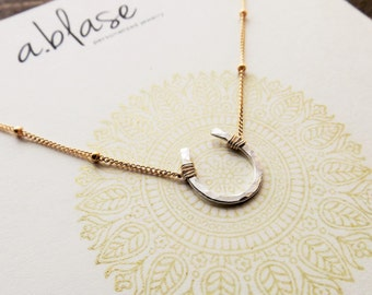 Small Silver Hammered Horshoe Necklace // Gold Satellite Chain