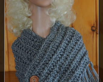 Gray Fringed Cowl
