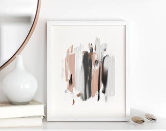 Neutral Brush Strokes - Printable Wall Art - Acrylic Abstract - Gallery Wall Decor - Black White Grey and Pink