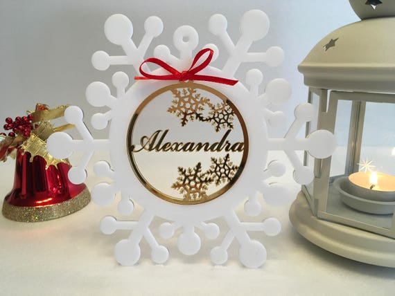 Personalised Christmas Baubles Xmas Name tree ornaments White Snowflakes Baby's first Christmas Decorations Our First Christmas Custom gift