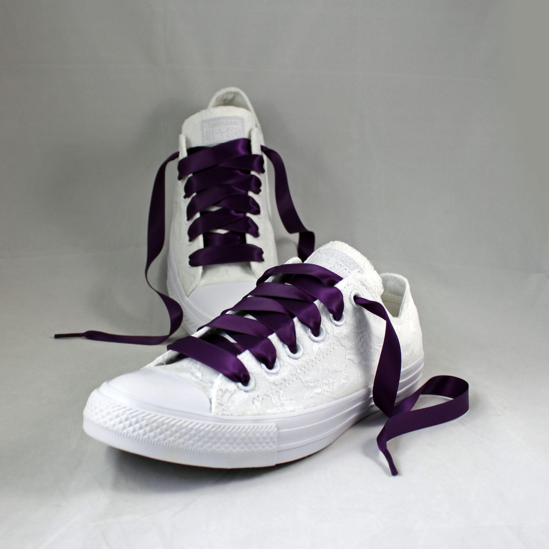 59ea7188255925 Monochrome White Lace and Plum Bridal Converses --Lace Converse -- Wedding  Tennis shoes - Wedding Converse