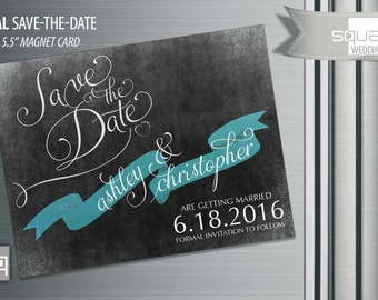 Save the Date chalkboard Magnets - Custom Save-the-Date Magnet Cards - Ribbon CASAL style Magnetic Cards - Bespoke Engagement Designer Cards