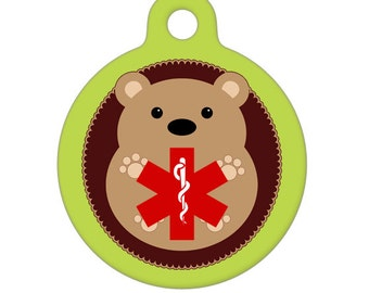 Medical Id Tag - Hedgehog Medical Alert Pet Tag, ID Tag, Child ID Tag, Dog ID Tag
