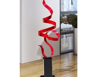 Large Red Modern Metal Sculpture, Abstract Indoor-Outdoor Metal Art, Contemporary Garden Art Decor - Red Perfect Moment by Jon Allen