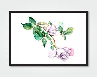 Watercolor roses digital print / 11 x 8,5