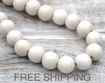 White Wood Round 10mm Beads FREE SHIPPING -16 inch strand