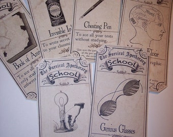School Survival Steampunk  Apothecary Labels Set of 6