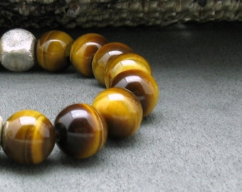 Honey Yellow Tiger Eye Modern Beaded Bracelet, Luxe Unisex, Geometric, For Her or Him Under 125