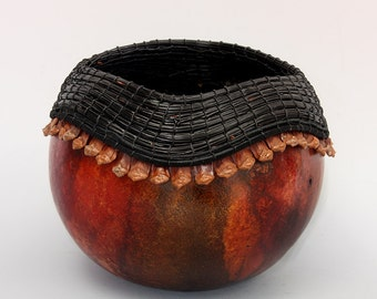 Gourd Bowl with Black PineNeedles and PineCones -Item 678