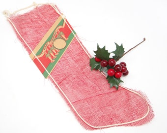1940's Christmas Mesh Stocking, Merry Christmas Banner with Toy Soldiers, Candy Container Ornament