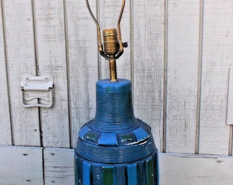 Vintage Chalkware Plaster Table Lamp // Mid Century Modern Retro Mod Style // Striped Turquoise Blue Green // See Description FOR REPAIR