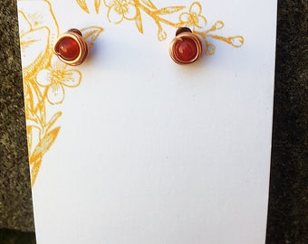 Copper Carnelian Stud Earring