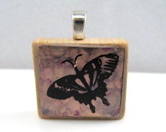 Purple butterfly - Glowing metallic Scrabble tile pendant