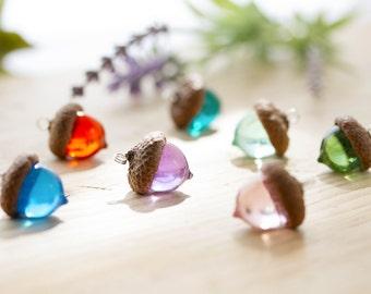 Acorn Necklace - Orange - Real Flower Jewelry , Gifts for Her , Acorn Jewelry , Resin Necklace , Orange Necklace , Acorn Pendant , Botanical