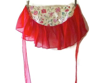 Vintage Apron Red Organdy and Polished Cotton - 1950s