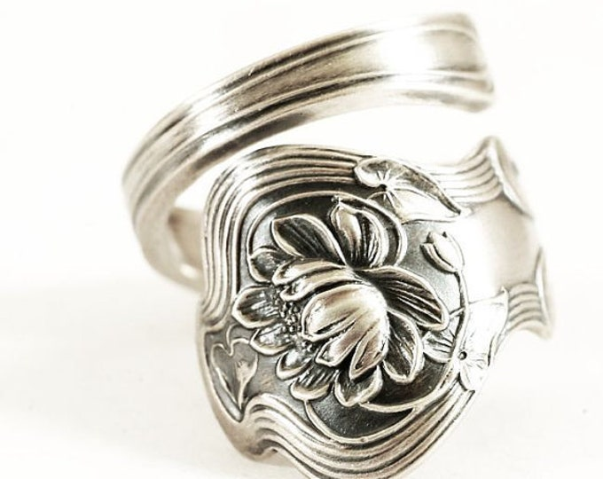 Graceful Lotus Flower Pond Lily, Sterling Silver Spoon Ring, Handmade Gift for Her, Water Lillies, Paye & Baker, Adjustable Ring Size (6842)