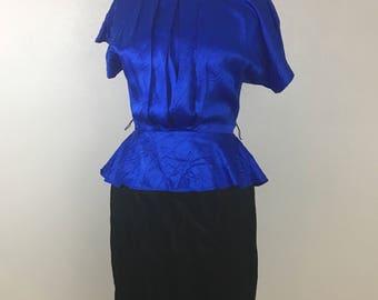 Vintage color block dolman 80's party dress- acetate size 9/10 peplum dress