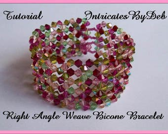 Digital Download Tutorial for Beaded Right Angle Weave Bicone Bracelet - Jewelry Beading Pattern, Beadweaving Instructions, DIY