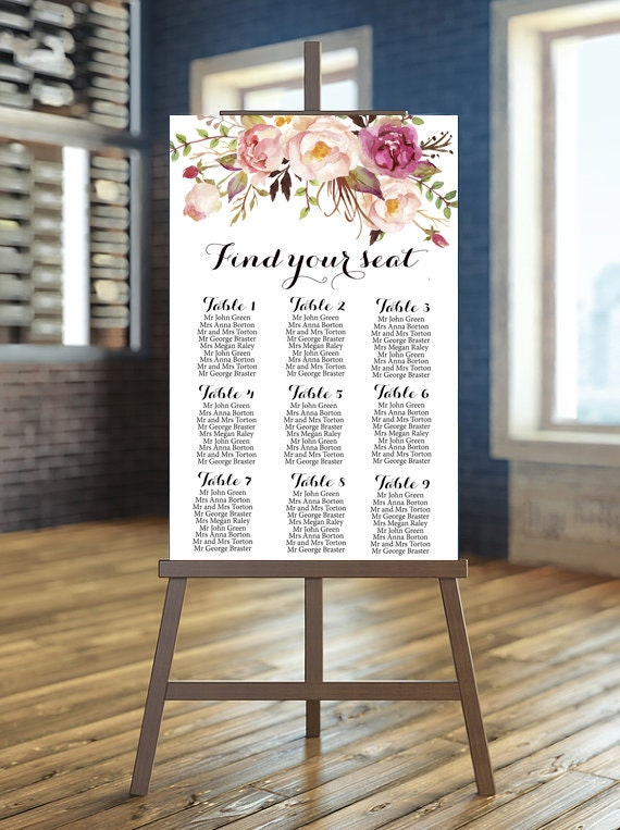 Wedding seating chart printable Rustic guests list printable