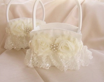 Flower Girl Basket Shabby Chic Vintage Ivory and Rose Custom Colors Wedding Basket