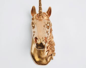 Unicorn Head wall mount in Gold The Bayer, Magical Unicorn Wall Mount Head by White Faux Taxidermy, Unicorn Decor, Kids Room Decor