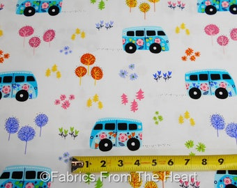 Hit the Road Flower VW Vans Celestial Blue on White  BY YARDS  Michael Miller Fabric