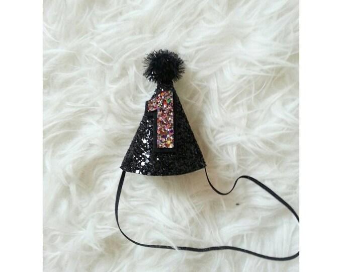 Mini Glittery Black and Gold First Birthday Party Hat    1st Birthday   Boy Birthday Hat   Ready to Ship