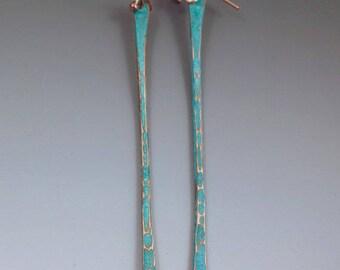 Twig Earrings- Verdigris Patina Earrings