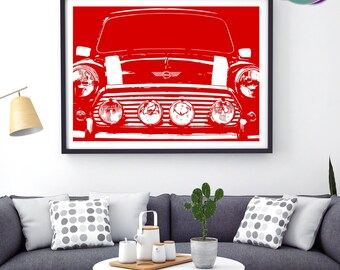 Mini Cooper Classic Car  - ZoomRed PopArt Front-on Design - Art Print- Mini Cooper - Classic Mini Car - Austin Mini Cooper