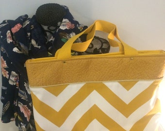 cotton and mustard yellow faux leather tote bag