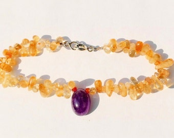 Gemstone bracelet with silver clasp 18.3 cm, citrine, amethyst and Carnelian