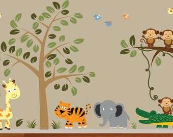 Childrens Jungle Tree Decal Reusable Peel and Stick Wall Decal - 902