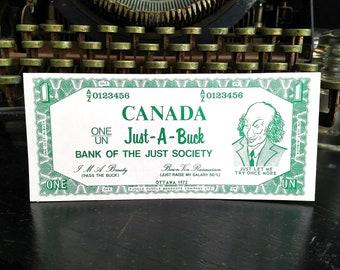 Vintage Trudeau Funny Money Gag Gift, Pierre Elliot Trudeau Fuddle Duddle Just A Buck Dollar Bill