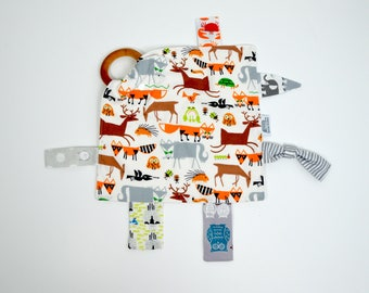 ORGANIC, Teething blanket, Teething toy, baby toy, teether, animals, tag blanket, organic cotton, GOTS, Lovey, secutity blanket, Baby gift