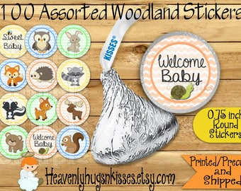 100 Chocolate kiss stickers Boy Woodland labels Woodland Chocolate Sticker Wilderness Kisses Labels Thank you Party Favor Wilderness sticker
