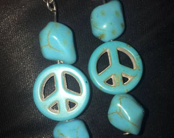 Faux Turquoise Peace Sign Earring, fishhook style