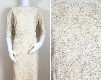 30% Off Sale 50s Cream Gold Leaf Embroidered Wiggle, Cocktail or Wedding Dress, Size XL