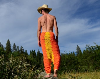 Crochet Pants Harem Style Drop Crotch Orange and Yellow Chevrons