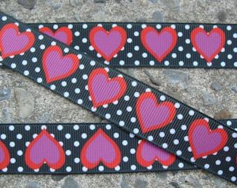 """Valentine Ribbon  White Dots Hearts Printed Ribbon 7/8"""" 3 yards Hair bow ribbon"""
