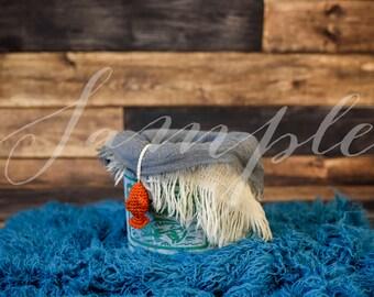 Newborn Baby Digital Backdrop - Photo Session - Antique Fishing Bucket Plain